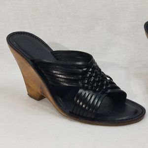 Michael Kors Black Leather Slide Wedges Size 7 1/2
